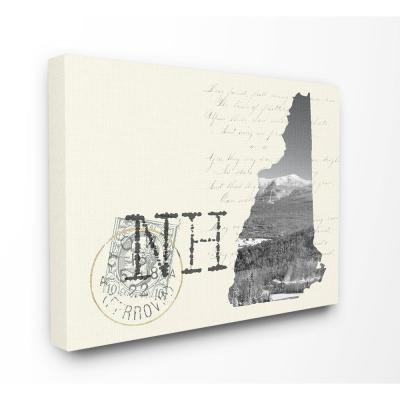"""30 in. x 40 in. """"New Hampshire Black and White Photograph on Cream Paper Postcard"""" by Daphne Polselli Canvas Wall Art"""