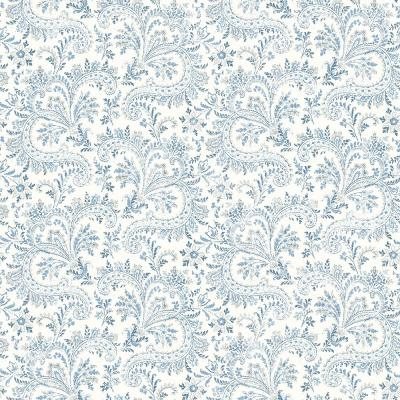Sycamore Blue Paisley Floral Blue Wallpaper Sample