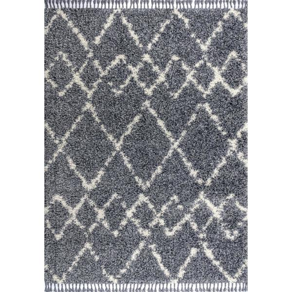 Mercer Shag Plush Tassel Moroccan Tribal Geometric Trellis Denim Blue/Cream 5 ft. x 8 ft. Area Rug