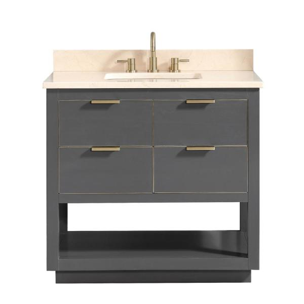 Allie 37 in. W x 22 in. D Bath Vanity in Gray with Gold Trim with Marble Vanity Top in Crema Marfil with Basin