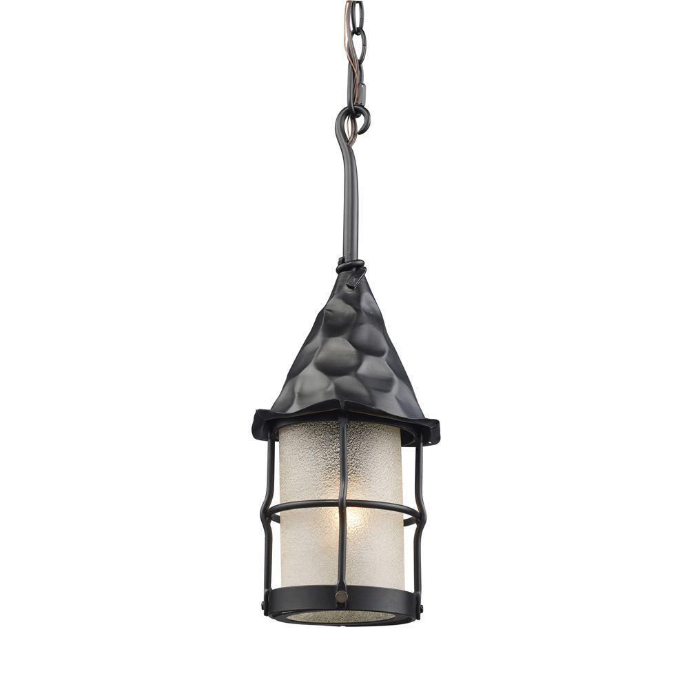 Rustica 1-Light Matte Black Outdoor Ceiling Mount Pendant