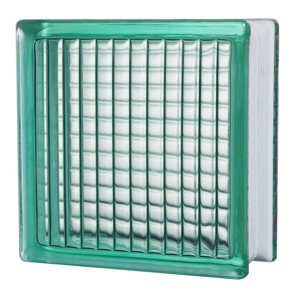 TAFCO WINDOWS 7-1/2 in. x 7-1/2 in. Lines Pattern Turquoise Glass Block 5/CA