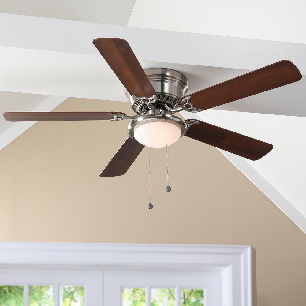 Hugger 52 In Led Indoor Brushed Nickel Ceiling Fan With Light Kit Al383led Bn The Home Depot