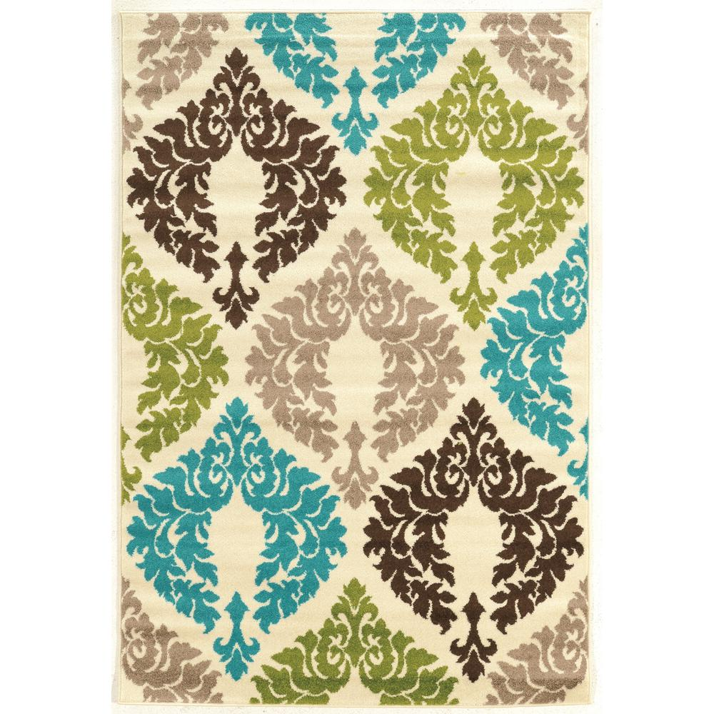 Linon Home Decor Claremont Damask Turquoise And Creme 2 Ft