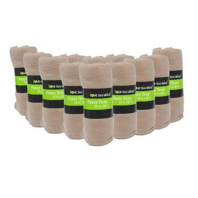 50 in. x 60 in. Tan Super Soft Fleece Throw Blanket (12-Pack)