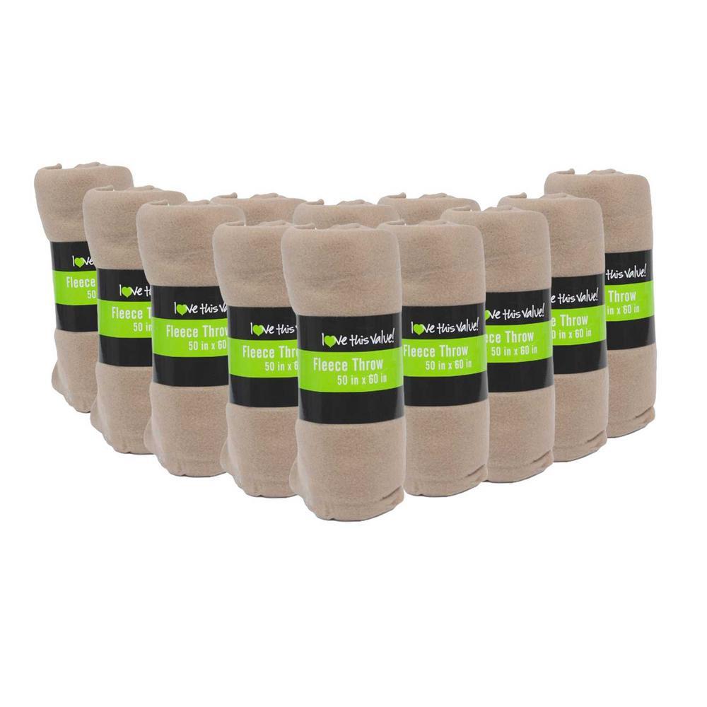50 in. x 60 in. Tan Super Soft Fleece Throw Blanket (12-Pack)