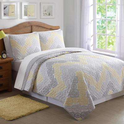 Antique Lace Chevron Gray and Yellow Twin Quilt Set
