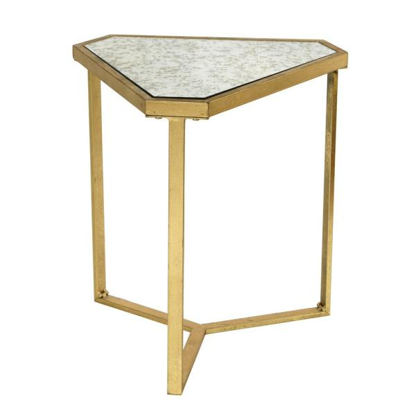 Roxie Rose Gold Antique Glass Top Triangle Side Table