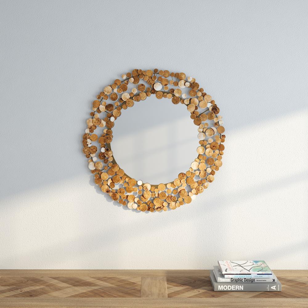 Jocelyn Coin 26 in. H x 26 in. W Round Framed Mirror