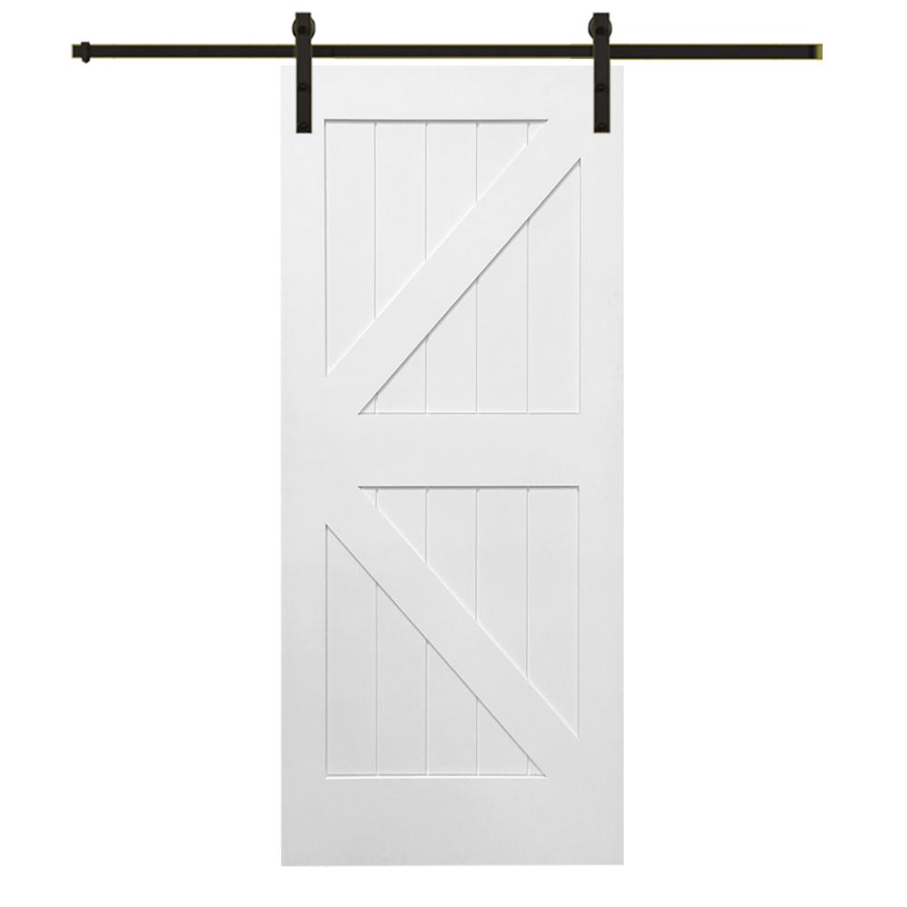 42 in. x 84 in. Primed K-Plank MDF Barn Door with