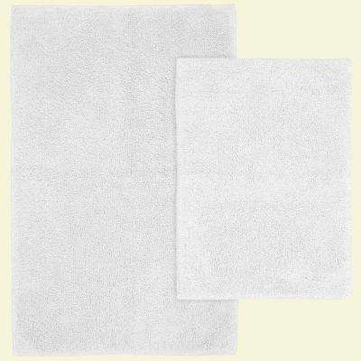 Queen Cotton White 21 in. x 34 in. Washable Bathroom 2-Piece Rug Set