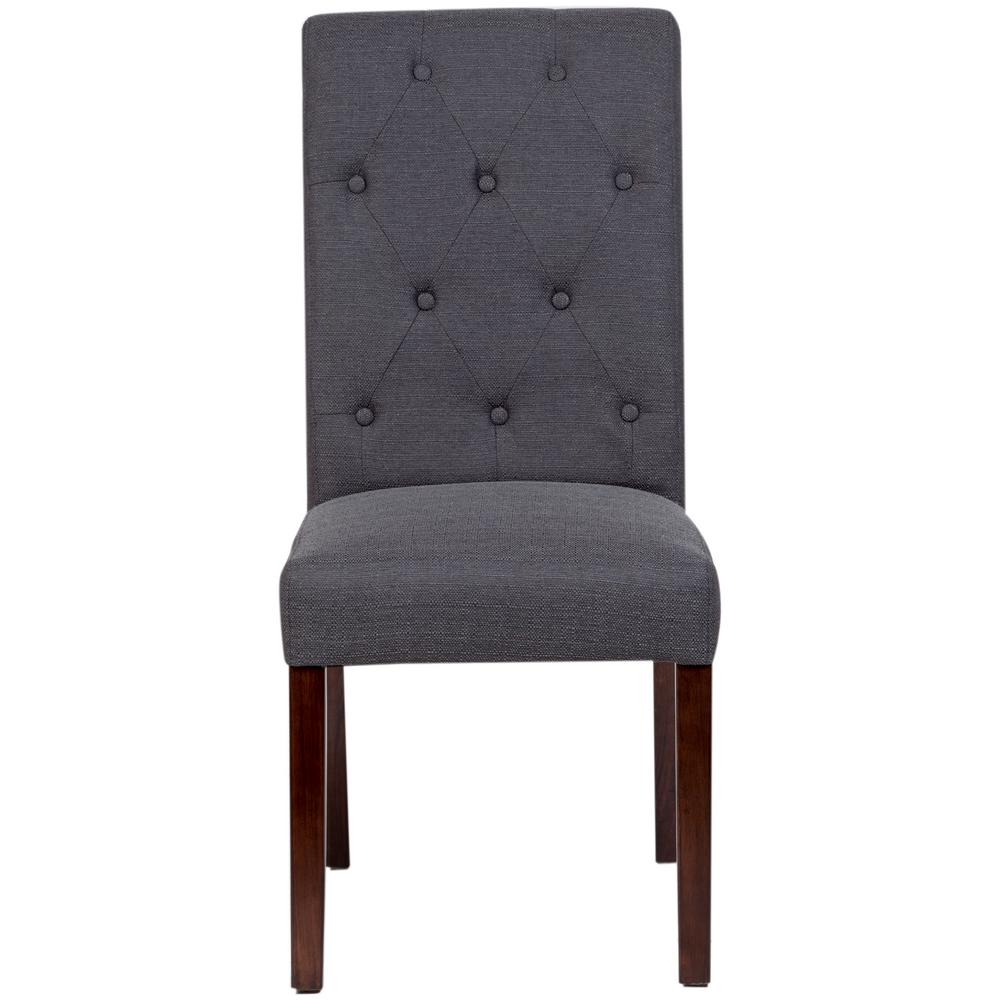 Faye Modern Linen Look Button Tufted Dining Chair In Gray