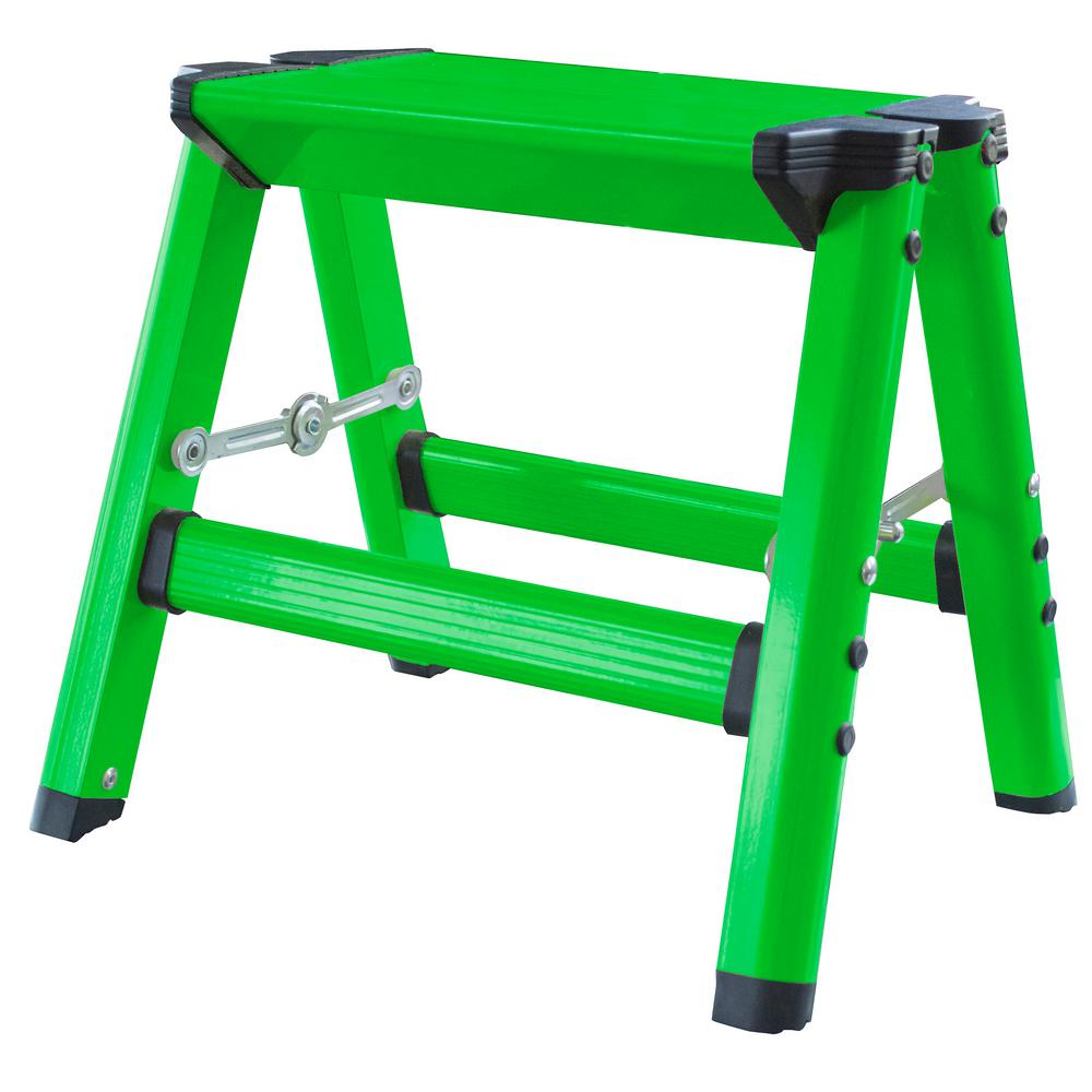 Prime Amerihome Aluminum Single Step Folding Stool With 325 Lbs Load Capacity In Neon Green Andrewgaddart Wooden Chair Designs For Living Room Andrewgaddartcom