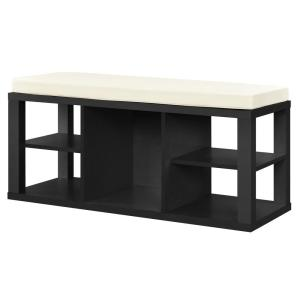 Ameriwood Nelson Black with Ivory Cushion Seat Storage Bench by Ameriwood