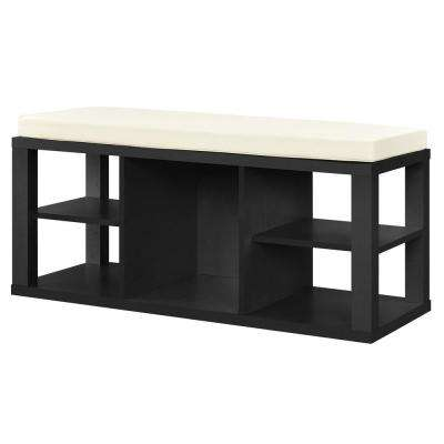 Nelson Black with Ivory Cushion Seat Storage Bench
