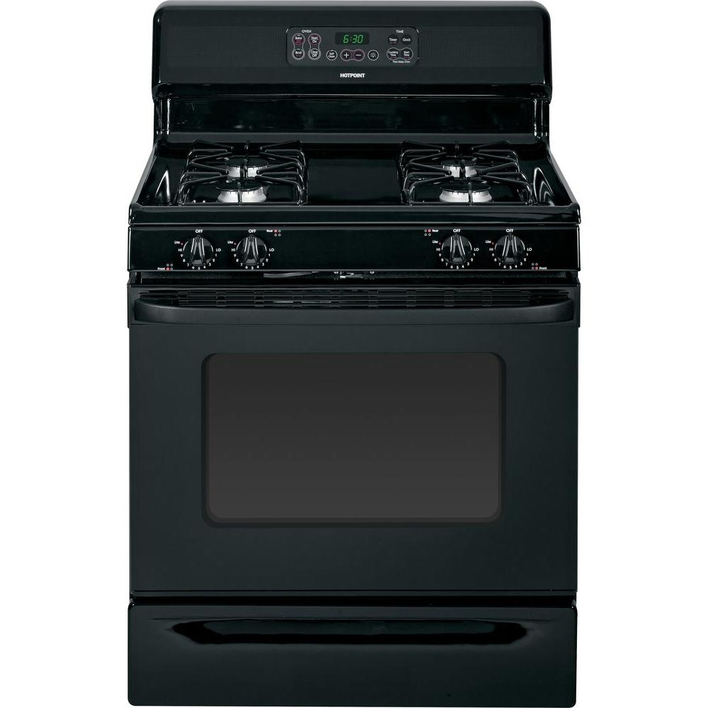Hotpoint 4.8 cu. ft. Gas Range with Self-Cleaning Oven in Black