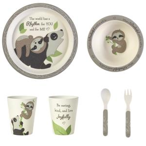 Precious Earth 5 Piece Multicolored Bamboo Mealtime Gift Set With Bear And Sloth