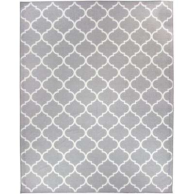 Washable Moroccan Trellis Light Grey 8 ft. x 10 ft. Stain Resistant Area Rug