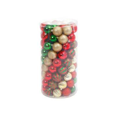 Red/Gold/Green Shatterproof Ball Ornaments (100-Pack)