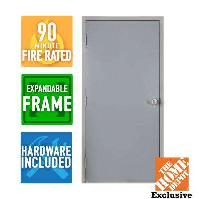 36 in. x 84 in. Fire-Rated Right-Hand Unfinished Steel Commercial Door Slab with Adjustable Frame