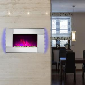 Northwest 35 in. Stainless Steel Electric Fireplace with Wall ...
