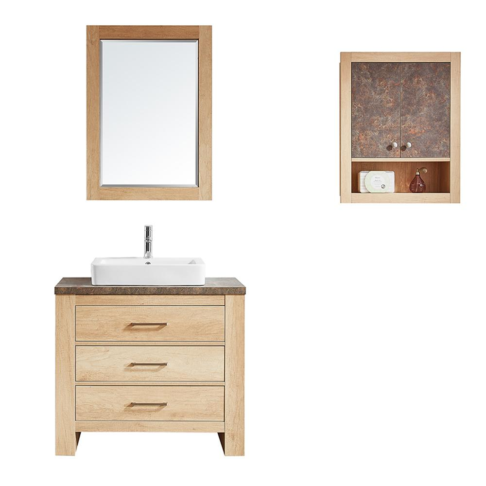 Vinnova Alpine 36 in. W x 21 in. D Bath Vanity in Oak with Melamine Vanity Top in Rustic Marble with White Basin and Mirror