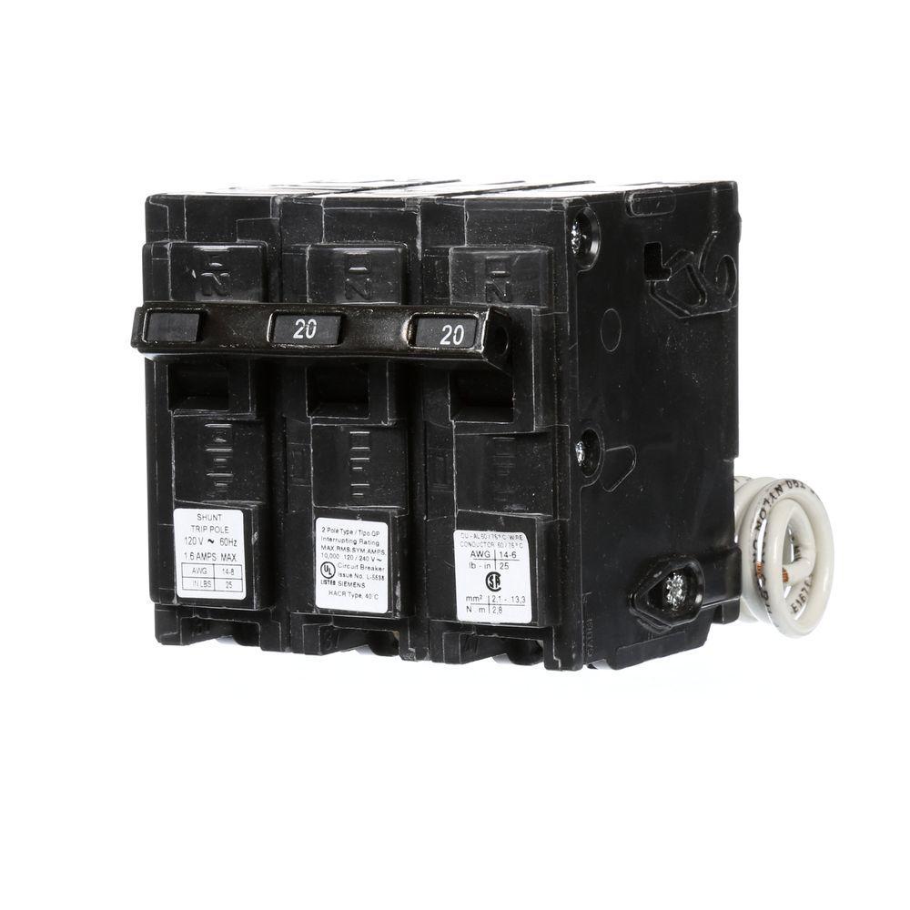 Siemens 20 Amp Double-Pole Type QP Circuit Breaker with 120-Volt ...
