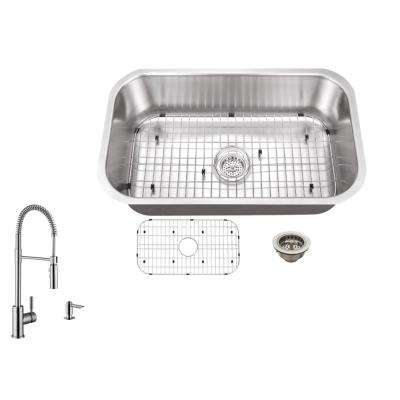 Beautiful Undermount 30 In. 16 Gauge Stainless Steel Kitchen Sink In Brushed ... Amazing Pictures