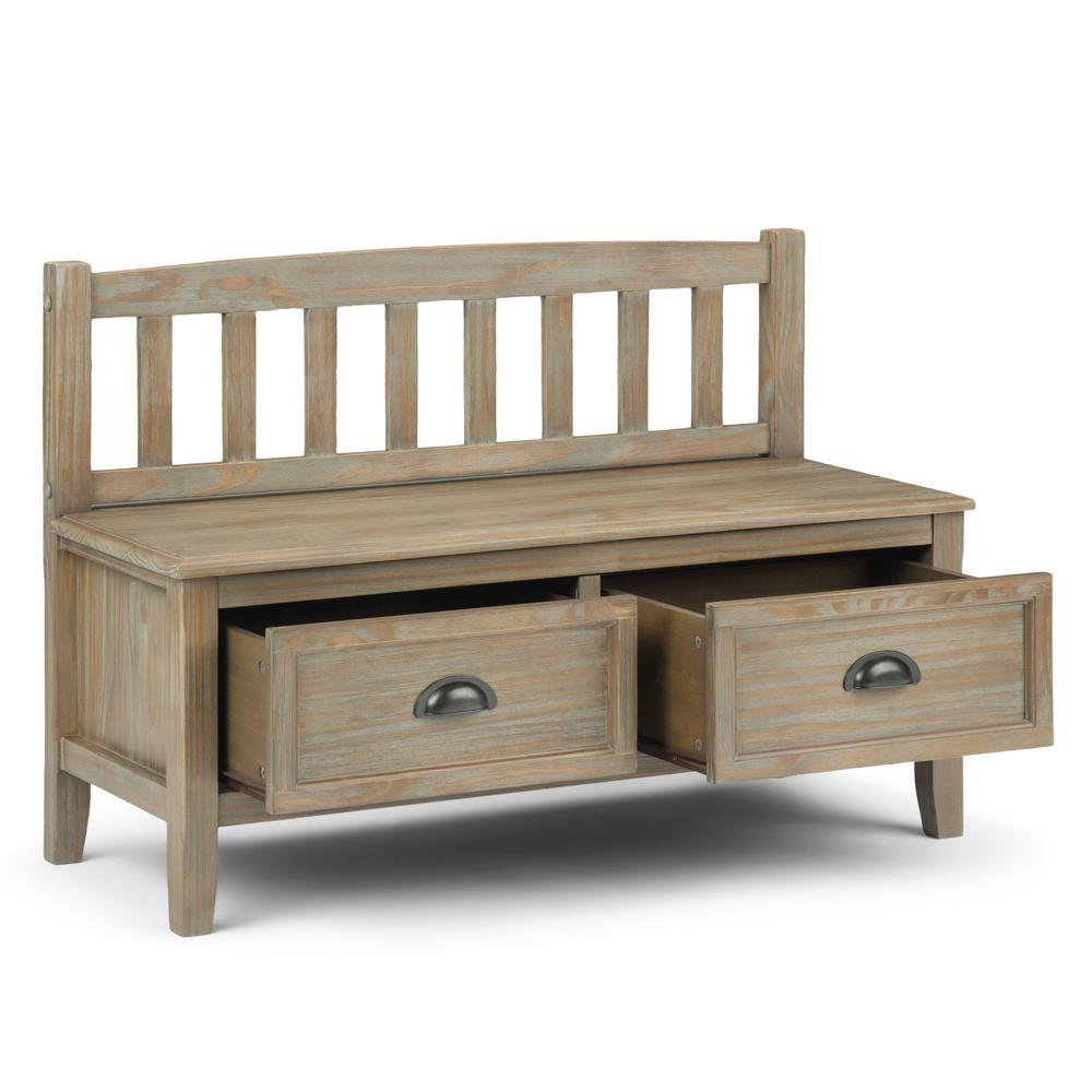 Wondrous Simpli Home 42 In Burlington Distressed Grey Solid Wood Machost Co Dining Chair Design Ideas Machostcouk