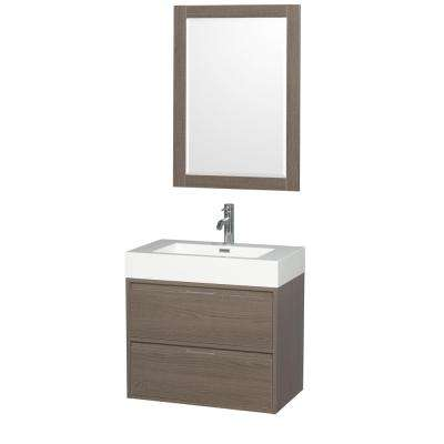 Daniella 29.3 in. W x 18 in. D Vanity in Gray Oak with Acrylic Vanity Top in White with White Basin and 24 in. Mirror