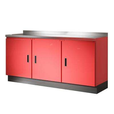 Select Series 36 in. H x 72 in. W x 22 in. D Aluminum Cabinet Set in Red with Stainless Steel Worktop (4-Piece)
