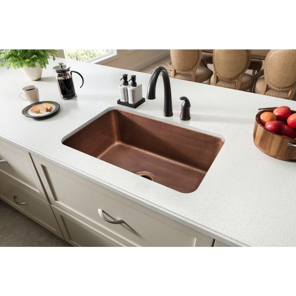SINKOLOGY Orwell Undermount Handmade Solid Copper 30 in. Single Bowl  Kitchen Sink in Antique Copper