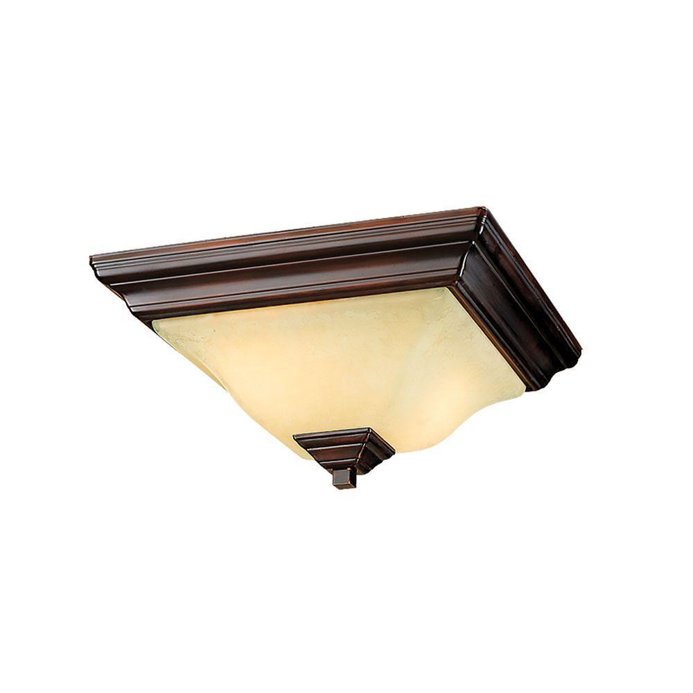 2-Light Euro Bronze Flushmount with Turinian Scavo Glass