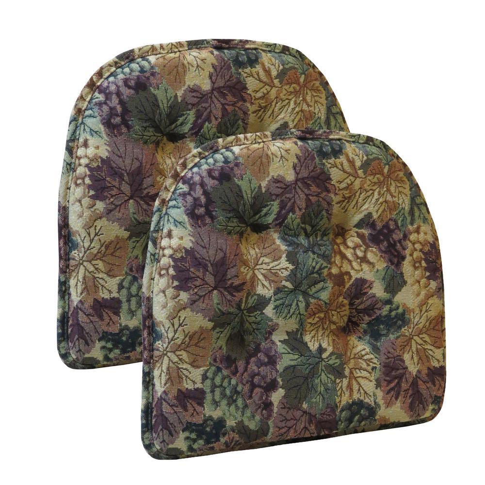 "Gripper Non-Slip 15"" x 16"" Cabernet Tufted Chair Cushions, Set of 2"