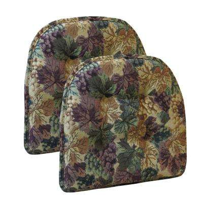 "Gripper Non-Slip 15"" x 16"" Cabernet Tufted Chair Cushions, Set of 2"