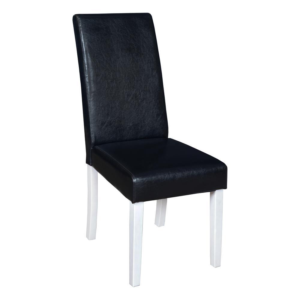 Tyler White Wood Grain Plush Vinyl Dining Room Chair