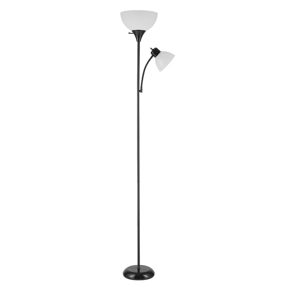 Globe Electric Globe Electric Delilah 72 in. Matte Black Torchiere Floor Lamp with Adjustable Reading Light