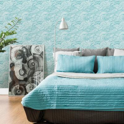 Mare Teal Wave Paper Strippable Roll (Covers 56.4 sq. ft.)