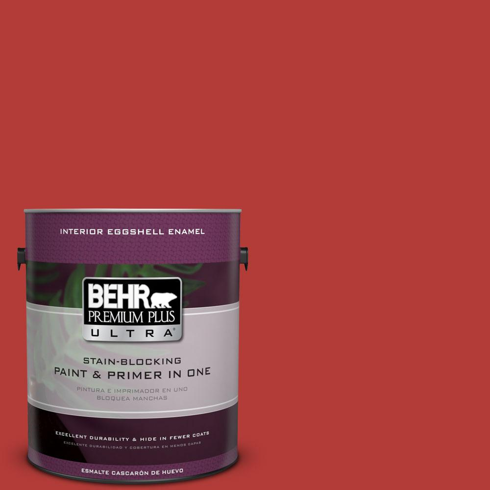 1 gal. #170B-7 Red Tomato Eggshell Enamel Interior Paint and Primer