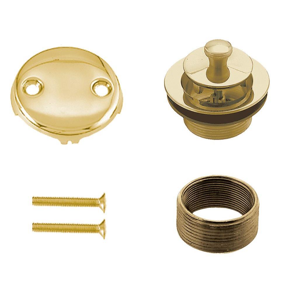 Universal Brass Twist-and-Close Waste Trim Kit in Polished Brass