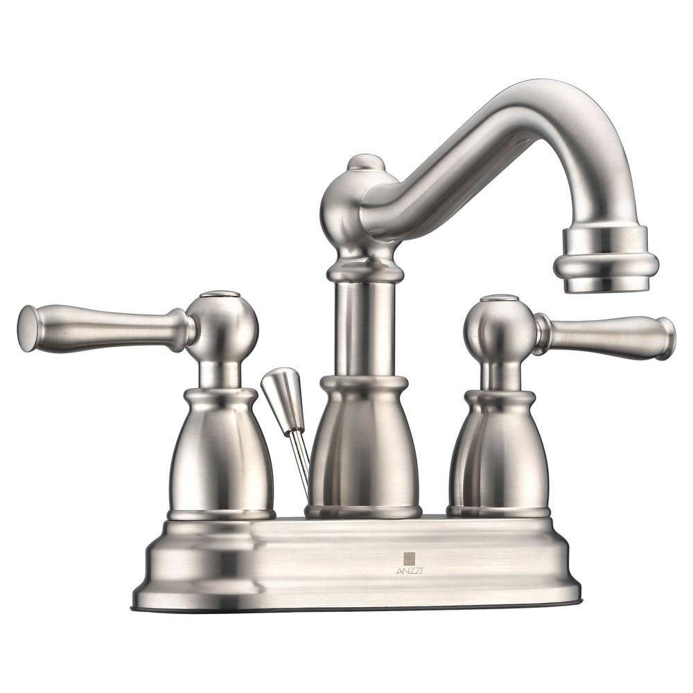 Gentil ANZZI Edge Series 4 In. Centerset 2 Handle Mid Arc Bathroom Faucet In