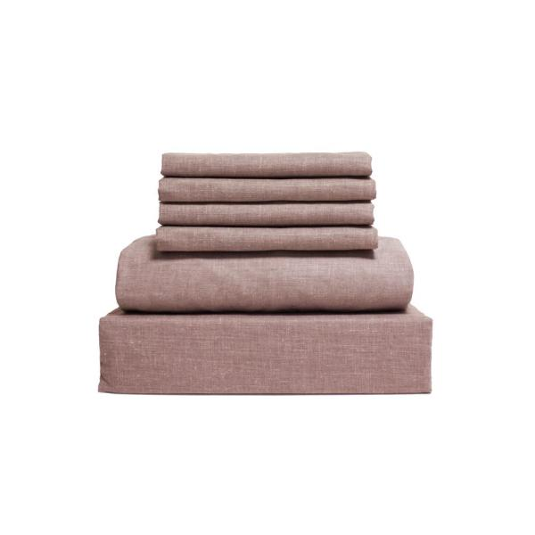 Loft Living Collection 6-Piece Taupe Solid 144 Thread Count Cotton Queen Sheet Set