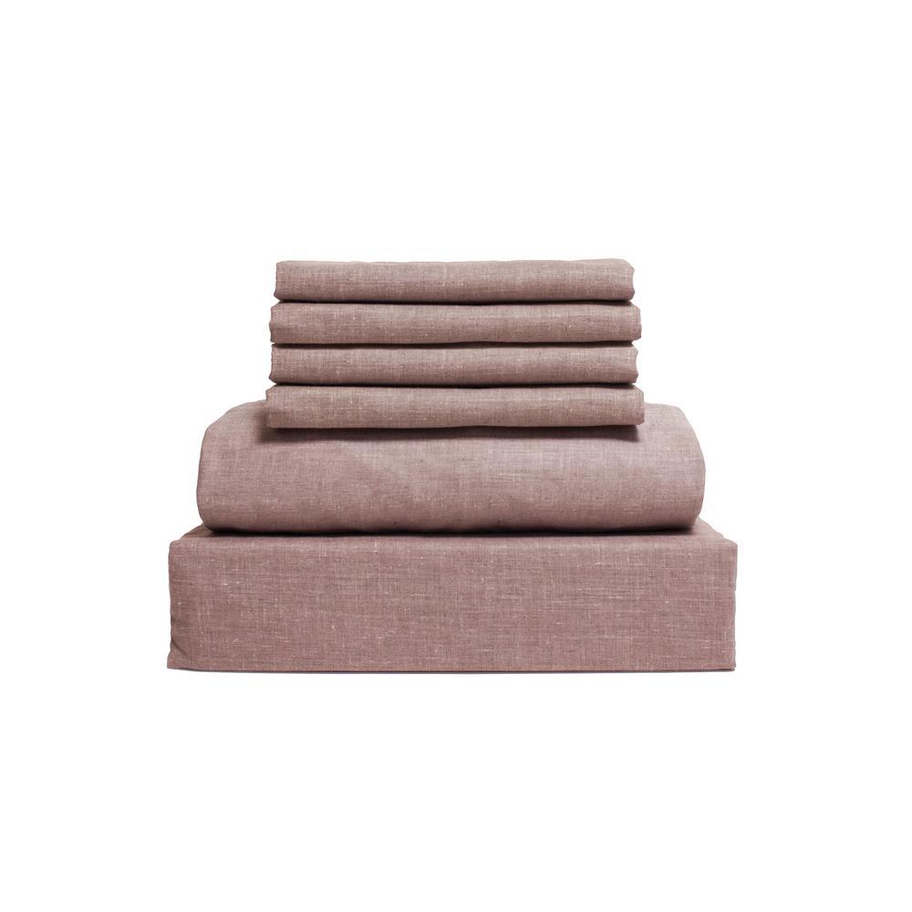Lintex Chambray 6-Piece Taupe Cotton/Polyester Queen Sheet Set 435867
