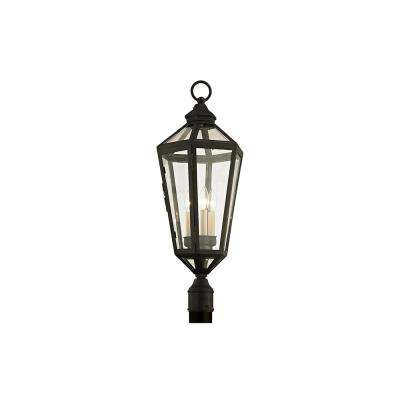 Calabasas 3-Light Vintage Brown 29.5 in. H Outdoor Post Light with Clear Glass