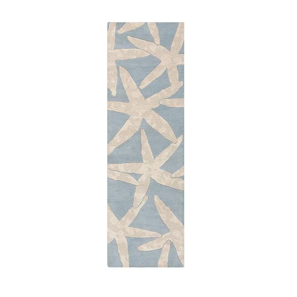 Home decorators collection starfish blue 2 ft 6 in x 8 for Home decorators rug runners