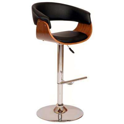 Paris 36-44 in. Black Faux Leather and Chrome Finish Adjustable Swivel Barstool