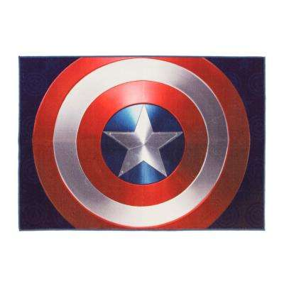 Captain America Red and Blue 5 ft. x 7 ft. Indoor Juvenile Area Rug