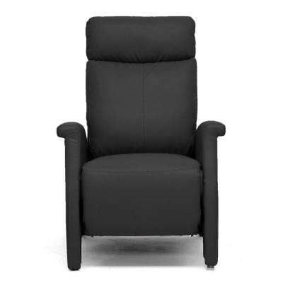 Sequim Black Faux Leather Upholstered Recliner