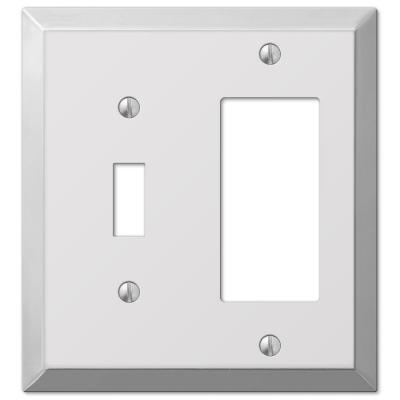 Metallic 2 Gang 1-Toggle and 1-Rocker Steel Wall Plate - Polished Chrome