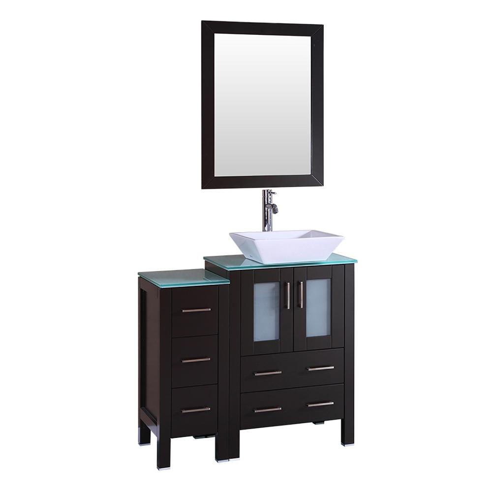 Bosconi 36 in. W Single Bath Vanity with Tempered Glass Vanity Top in Green with White Basin and Mirror